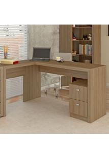 Mesa Para Escritório 2 Gavetas Me4129 Amendoa - Tecno Mobili