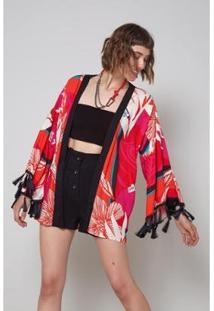 Kimono Oh, Boy! Est Floral Vulcanico Feminino - Feminino-Vermelho