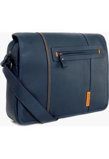Bolsa De Couro Bennemann Carteiro Azul - Kanui
