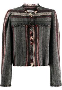 Isabel Marant Étoile Fringed Woven Stripe Jacket - Verde