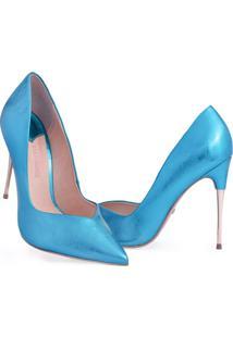 Scarpin Clássico Salto Alto Bico Fino Marjorie Azul - Kanui