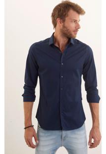 Camisa John John Slim Navy Azul Marinho Masculina Camisa Slim Navy-Azul Marinho-Gg
