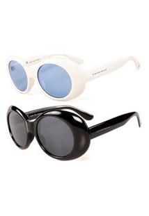 Promoção Kit 2 Óculos De Sol Femininos Prorider Kristhel Byanco Clássico Branco E Petro - Kittitania4F