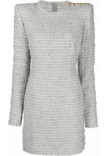 Balmain Vestido Mangas Longas De Tweed - Cinza