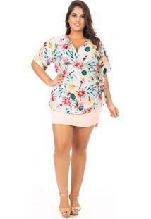 Blusa Feminina Estampada Transpassada Com Amarração Plus Size - Kanui