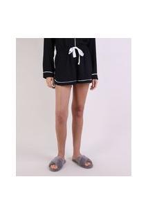 Short De Pijama Feminino Com Vivo Contrastante E Amarração Preto