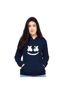 Blusa Moletom Feminino Azul Marinho Marshmello