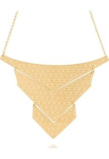 Maxi Colar Formado Por Três Triângulos Rommanel - Feminino-Dourado