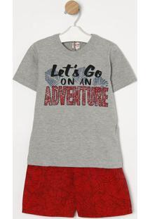 Conjunto De Camiseta ''Adventure'' + Bermuda- Cinza & Vegaz Pop