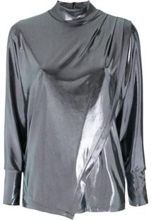 Egrey Blusa Gola Alta Metalizada - Azul