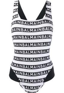 Balmain Maiô Com Estampa De Logo Repetido - Branco