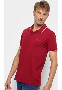Camisa Polo Colcci Frisos Masculina - Masculino-Bordô