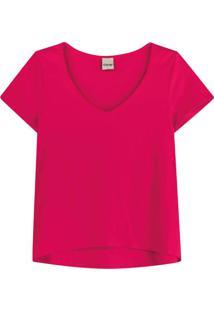 Blusa Rosa Escuro Mullet Decote V
