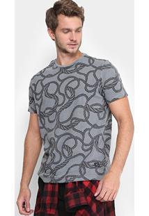 Camiseta Ellus Estonada Corda Masculina - Masculino-Chumbo