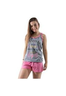 Baby Doll 4 Estações Pijama Feminino Curto Variado Verão Feminino Adulto Cinza