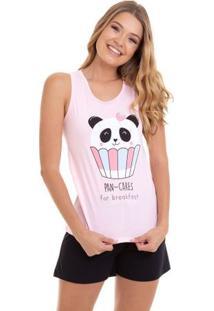 Pijama Short Doll Regata Pan Cake Luna Cuore