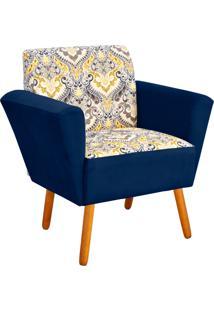 Poltrona Decorativa D'Rossi Dora Estampado D77 Com Suede Azul Marinho - Azul Marinho - Dafiti