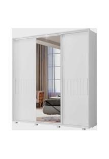 Guarda Roupa Luminare Flex 3 Portas De Correr C/ Espelhos Branco Fosco Liso/Ártico Albatroz