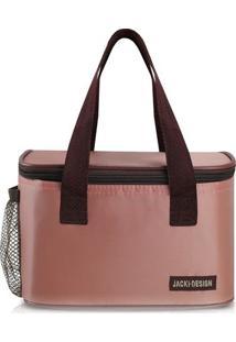 Bolsa Térmica Com Inscrição Da Marca- Rosa & Marrom Escujacki Design