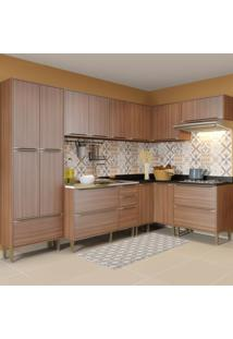 Cozinha Completa 16 Portas 4 Gavetas 5462 Nogueira/Malt - Multimóveis