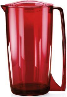 Jarra Vitra De Suco Água 2 Litros Jarro Com Tampa Servir Vermelho/Azul - Ou Vermelho