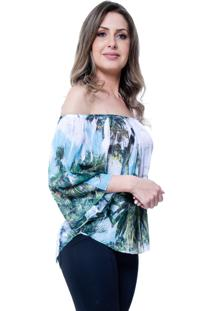 Blusa 101 Resort Wear Tunica Ombro A Ombro Folhagem Verde