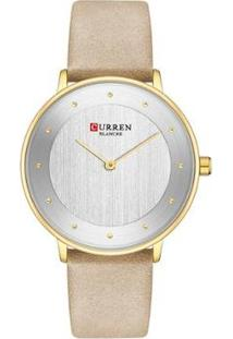 Relógio Curren Analógico C9033L Feminino - Feminino-Dourado+Bege