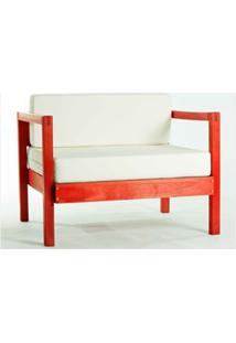 Sofá 01 Lugar Componível Com Almofada Lazy Stain Vermelho - Mão & Form