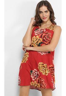 Vestido Lez Lez Curto Reto Estampado - Feminino-Floral