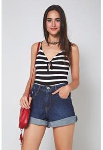 Bermuda Jeans Clarice Bainha Desfiada - Oh, Boy! Feminina - Feminino