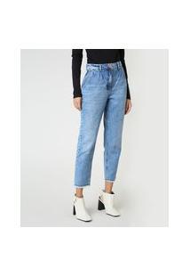 Calça Jeans Feminina Mom Cintura Super Alta Com Barra Desfiada Azul Claro