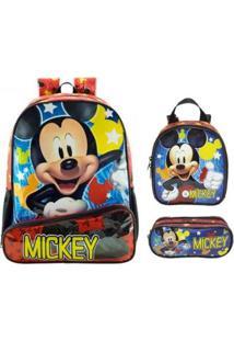 Kit Mochila Xeryus Mickey Mouse De Costa Com Lancheira E Estojo - Unissex-Vermelho