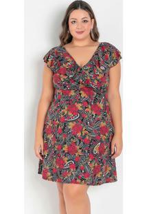 Vestido Floral Transpassado Com Babado Plus Size