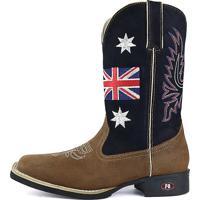Bota Country Sapatofran Texana Rebento Bico Quadrado Inglaterra Azul-Marinho a439e234f275c