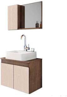 Gabinete De Banheiro Suspenso Com Cuba E Espelheira Tokyo 45X55,3X40Cm Rovere E Wengue Gaam