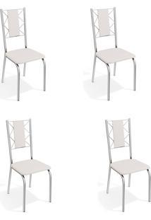 Conjunto Com 4 Cadeiras De Cozinha Lisboa Cromado E Branco