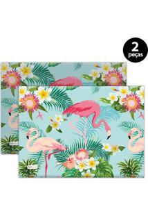 Jogo Americano Mdecore Flamingo 40X28 Cm Verde 2Pçs