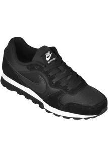 Calçado Tênis Nike Feminino Preto Eva Couro Runner Md 2 Wmns
