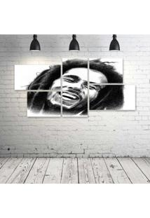 Quadro Decorativo - Bob-Marley-Classic - Composto De 5 Quadros