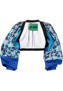 Colville Jaqueta Cropped Com Estampa Floral E Abertura Frontal - Azul