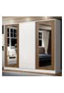 Guarda-Roupa Casal Madesa Eros 3 Portas De Correr Com Espelhos - Branco/Rustic/Branco
