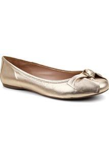 Sapatilha Couro Shoestock Bico Redondo Laço Feminina - Feminino-Dourado
