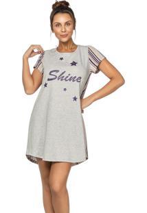 Camisola Stripes And Stars Em Algodáo Creme Diário Íntimo - Tricae