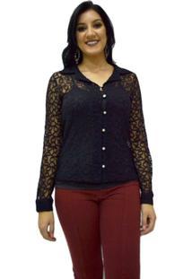 Camisa Manga Longa Moché - Feminino-Preto