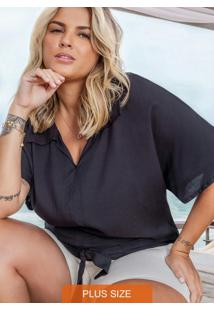 Camisa Plus Size De Viscose Secret Glam Preto
