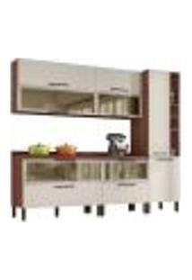 Cozinha Modulada 7 Peças Viv Concept C08 Off White/Nogueira - Kit´S Paraná