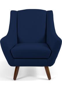 Poltrona Decorativa Sala De Estar Pés De Madeira Naomi Veludo Azul Oxford - Gran Belo