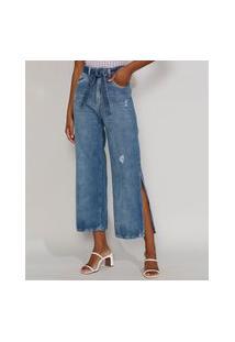 Calça Jeans Feminina Reta Wide Cintura Super Alta Com Fenda E Faixa Para Amarrar Azul Médio