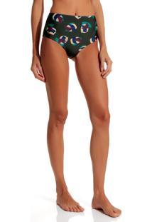 Calcinha Rosa Chá Audrey Discs Beachwear Estampado Feminina (Discs, G)