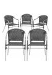 Cadeiras 5Un Para Area Varanda Fibra Sintetica Sala Cozinha Jardim Sacada Floripa - Preto